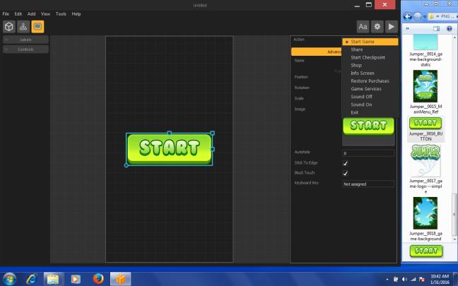 Buildbox menu screen start button start