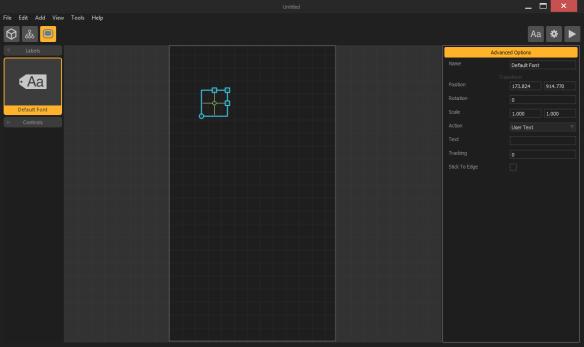 Buildbox menu screen start label